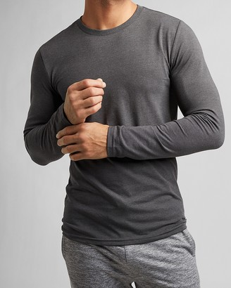 Express Solid Slim Stretch Crew Neck Long Sleeve T-Shirt