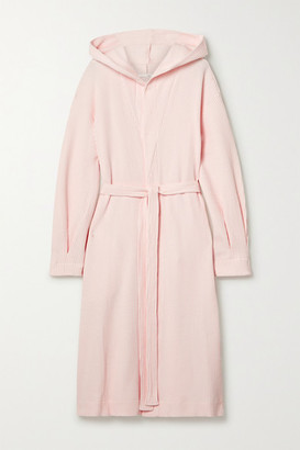 Skin Camilla Hooded Waffle-knit Cotton Robe - Pastel pink