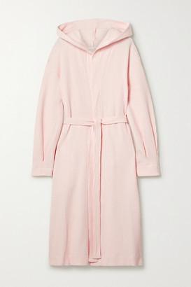 Skin - Camilla Hooded Waffle-knit Cotton Robe - Pastel pink