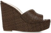 Thumbnail for your product : Veronica Beard Dali Woven Leather Platform Wedge Mules