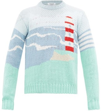 Thom Browne Lighthouse-jacquard Cotton Sweater - Mens - Blue