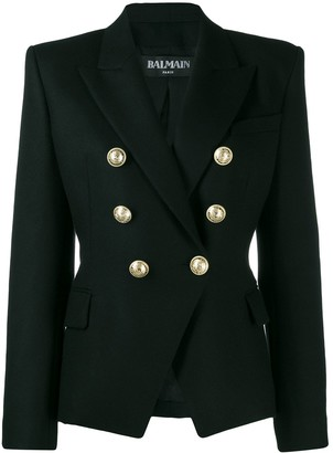 Balmain Double-Breasted Structured Shoulder Blazer