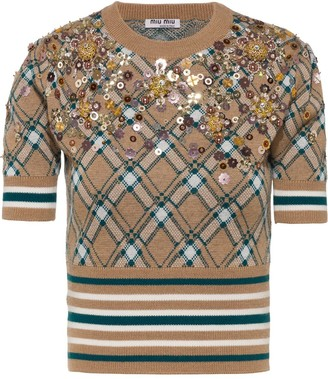 Miu Miu Bead-Embellished Wool Top