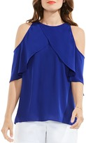 Vince Camuto Crossover Ruffle Cold Shoulder Top