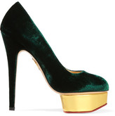 Charlotte Olympia The Dolly Velvet Pumps - Emerald