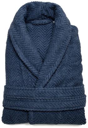 Linum Home Textiles Herringbone Weave Bathrobe, Midnight Blue, Large/X-Large