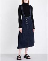 Mo&Co. Suspender-strap high-rise denim skirt