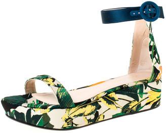Stuart Weitzman Multicolor Botanic Jacquard Fabric Capri Ankle Strap Platform Sandals Size 38