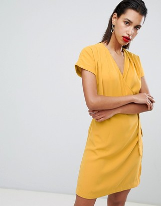 Morgan wrapover pencil dress with belt detail