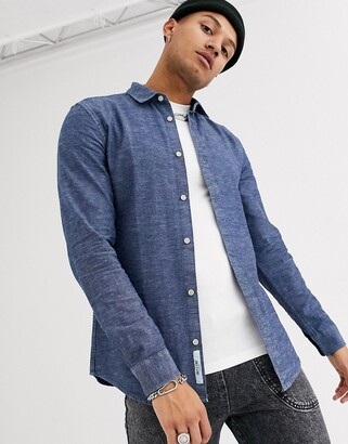 ONLY & SONS slim fit slub chambray shirt in blue denim-Navy