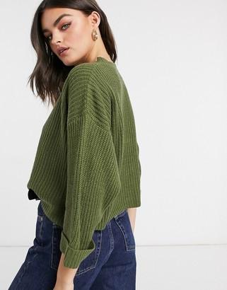 AX Paris cropped boxy jumper in khaki