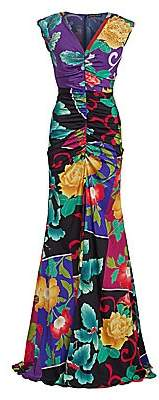 Etro Women's Japanese Floral Ruched Stretch-Silk Gown