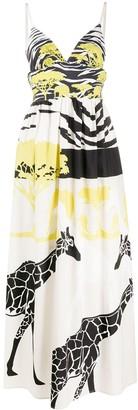 Sara Roka Giraffe-Print Maxi Dress
