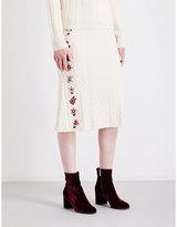 Altuzarra Ladies White Flared Letta Embroidered Wool-Blend Midi Skirt