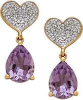 Macy's Amethyst (1-9/10 ct. t.w.) & Diamond (1/8 ct. t.w.) Heart Drop Earrings in 10k Gold