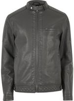 River Island Mens Grey racer neck faux leather jacket