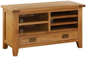 Camilla And Marc Hollyberry Home TV Cabinet with Drawer, Wood, Oak, 50 x 110 x 65 cm