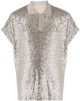 Saint Laurent Sequinned Polo Shirt
