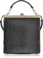 Rodo Black Lizard Embossed Leather and Suede Tote Bag