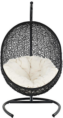 One Kings Lane Patio Swing Chair - frame, wenge; upholstery, white