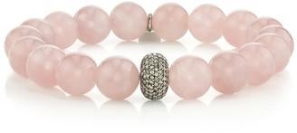 Sheryl Lowe Rose Quartz Beaded Bracelet With Pave Diamond Donut