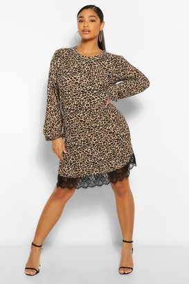 boohoo Plus Leopard Lace Trim Shift Dress