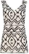 Wallis Grey Aztec Print Sparkle Ruffle Shell Top
