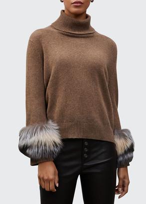 Lafayette 148 New York Cashmere Turtleneck Sweater with Fox Fur