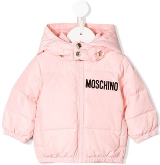 MOSCHINO BAMBINO Flocked Logo Padded Jacket