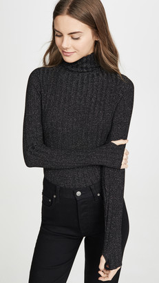 Enza Costa Metallic Rib Turtleneck