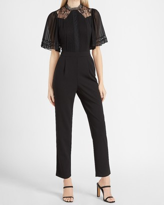 Express Pleated Lace Sleeve Mock Neck Jumpsuit