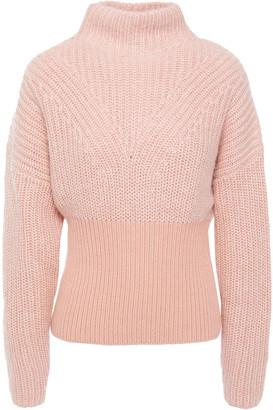 IRO Medford Ribbed Knit-paneled Cotton-blend Turtleneck Sweater
