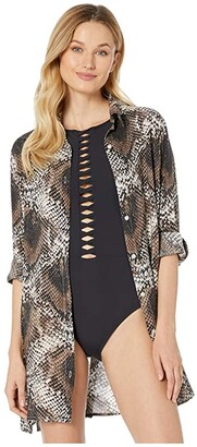 Bleu Rod Beattie Skin Games Rayon Shirt Cover-Up (Snake) Women's Swimwear