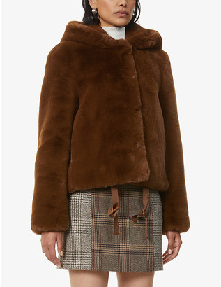 Sandro Mirage hooded faux-fur jacket