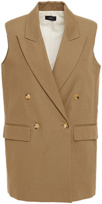 Joseph Double-breasted Cotton And Linen-blend Canvas Vest