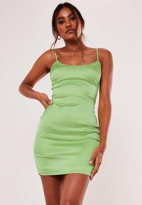 Missguided Sage Stretch Satin Bodycon Mini Dress