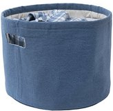Eco Luxury Storage Basket Cotton Organizer Bin   Round-Blue   Environmentaly Friendly Upcycled Denim Fabric   for Toys, Laundry, Office and Bedroom I Large 15x12 in.