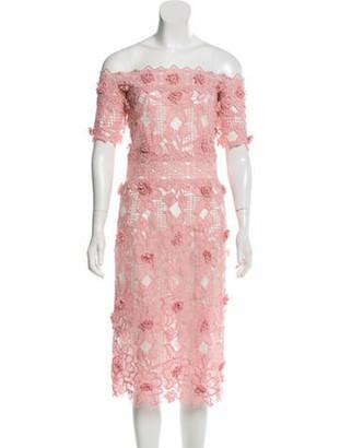 Costarellos Lace Pattern Midi Length Dress Pink