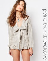 Glamorous Petite Striped Tie Front Playsuit