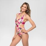 Tori Praver Seafoam Women's Floral Racerback One Piece Swimsuit - Petal Pink/Army Green