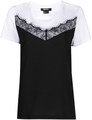 DKNY Lace-Trim Panelled Top