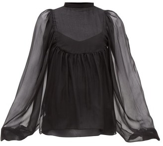 Rochas Balloon-sleeve Silk-chiffon Blouse - Womens - Black