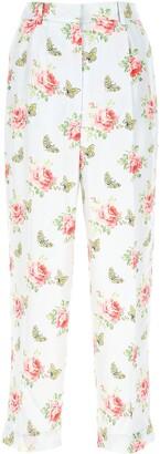 Prada Rose Print Cropped Trousers