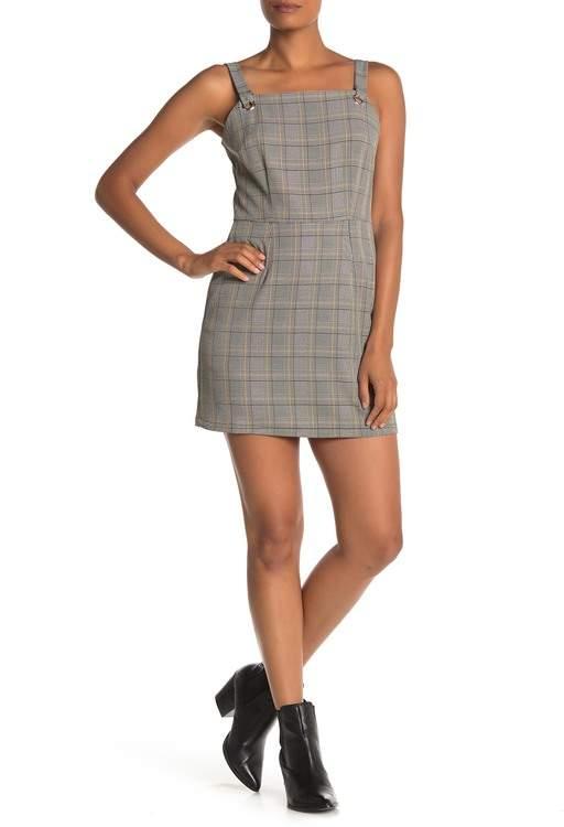 BeBop Plaid Print Pinafore Dress