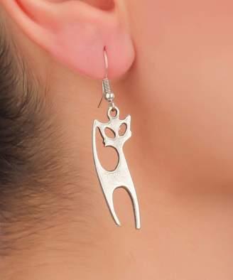 Yu & Shi Women's Earrings ANTIQUE - Silvertone Geometric Cat Drop Earrings