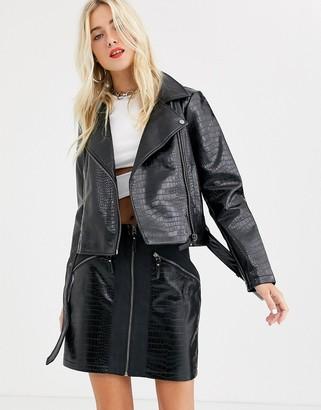 Noisy May snake skin faux leather biker jacket in black