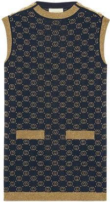 Gucci Interlocking G lame wool dress