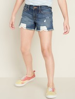 Old Navy Lace-Hem Distressed Jean Cutoffs for Girls