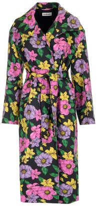Balenciaga Belted Floral Print Trench Coat