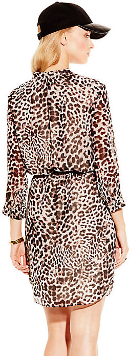 Vince Camuto Leopard Print Tie-Waist Dress